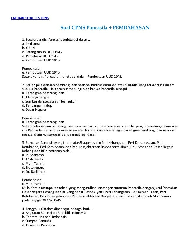 Soal Cpns Pancasila Disertai Pembahasan