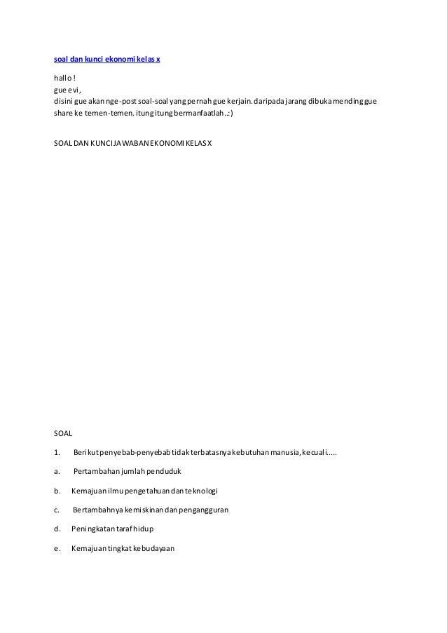 Soal Dan Kunci Ekonomi Kelas X