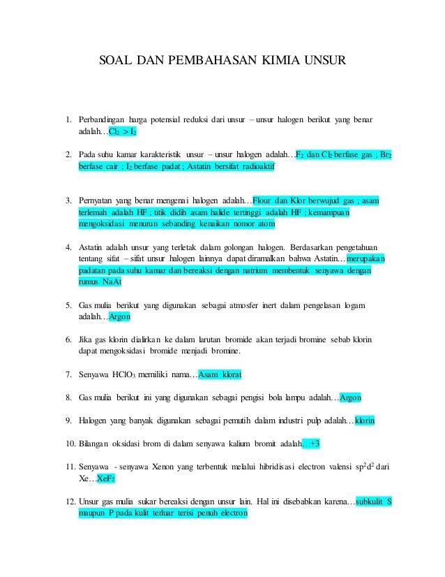 contoh soal essay tentang halogen
