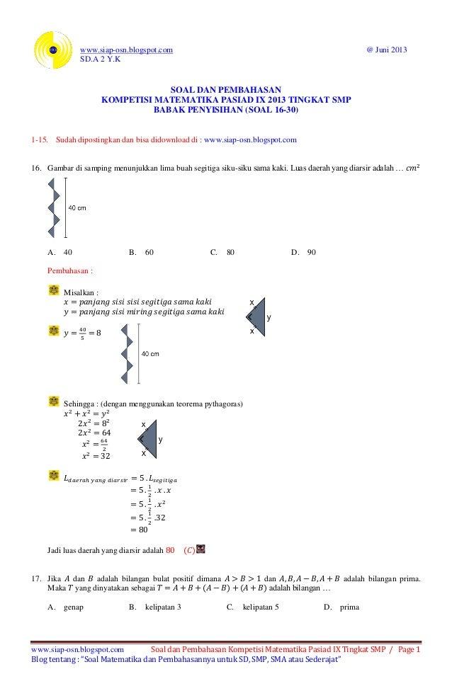 Soal Dan Pembahasan Kompetisi Matematika Pasiad Ix 2013 Pasiad 9 Ti