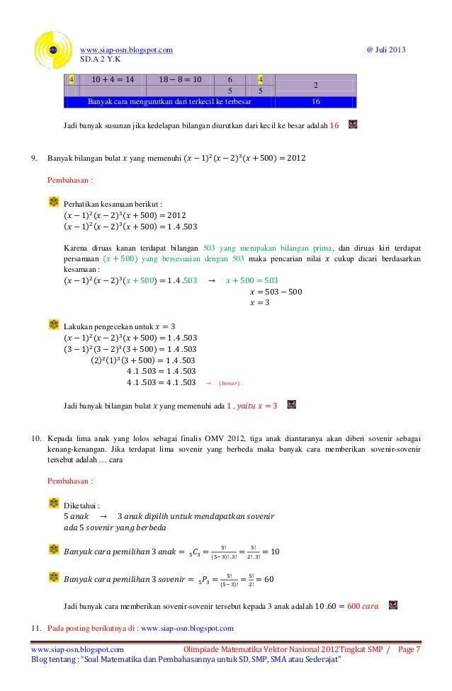 Soal Dan Pembahasan Olimpiade Matematika Vektor Nasional 2012 Tingkat