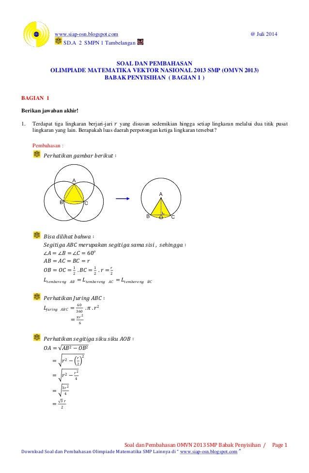 Soal Dan Pembahasan Olimpiade Matematika Vektor Nasional 2013 Smp Om