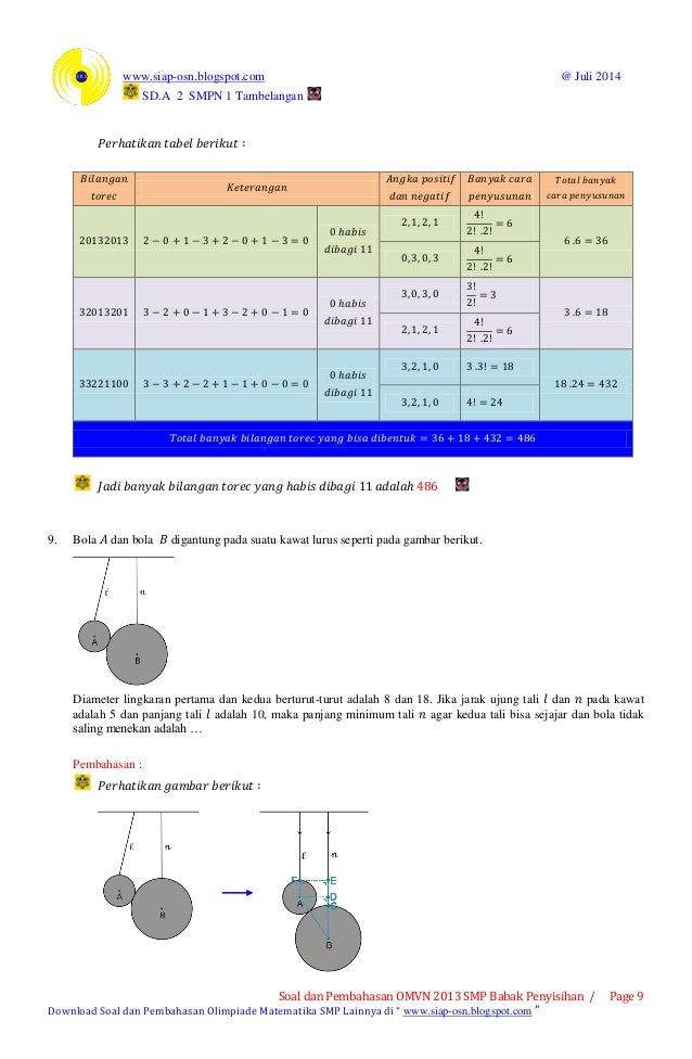 Pembahasan soal olimpiade matematika smp pdf download