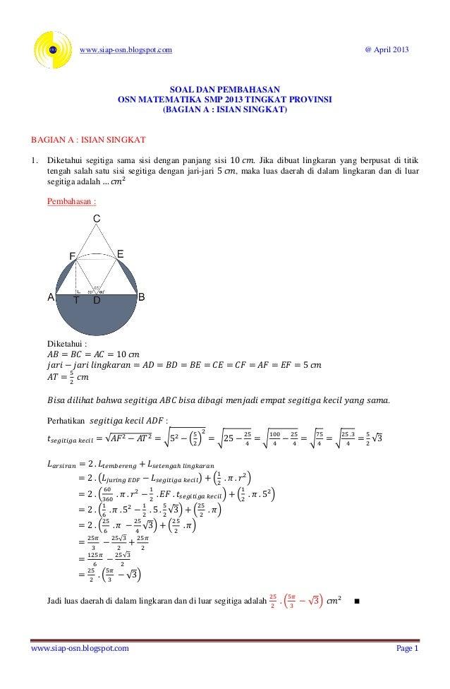 Soal Dan Pembahasan Osn Matematika 2013 Bagian A Isian Singkat Tingka