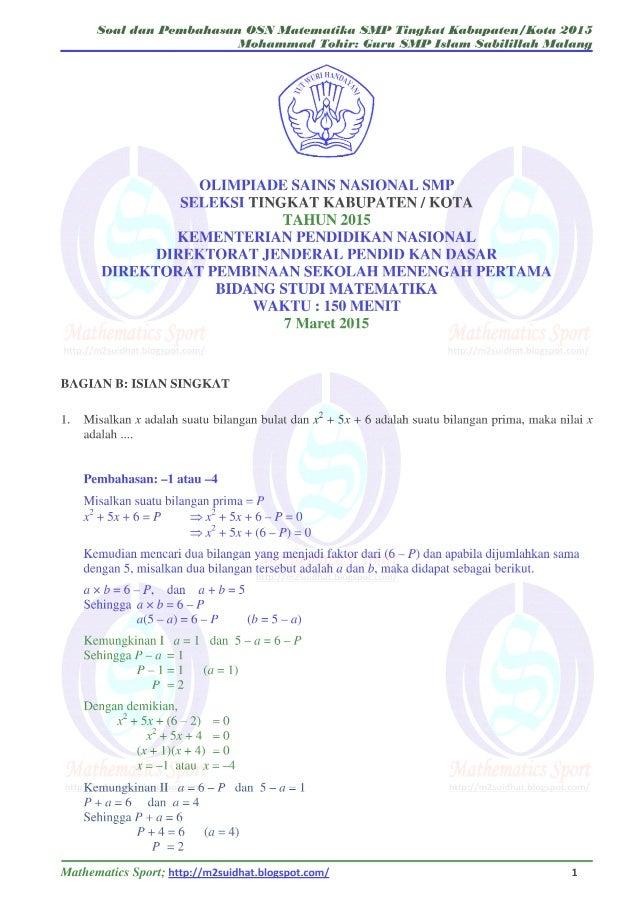Contoh Soal Olimpiade Matematika Smp Dan Kunci Jawaban Kumpulan Soal Pelajaran 8