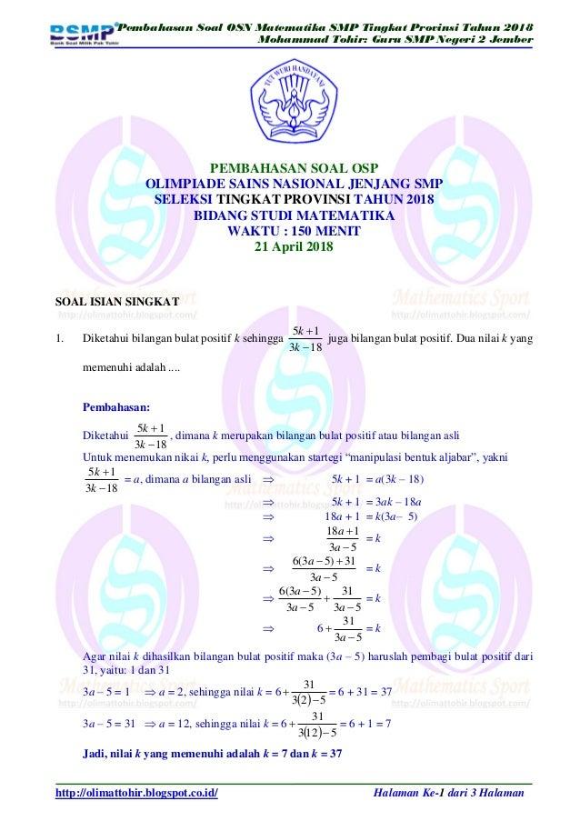Soal Dan Pembahasan Osn Matematika Smp Tingkat Provinsi 2018
