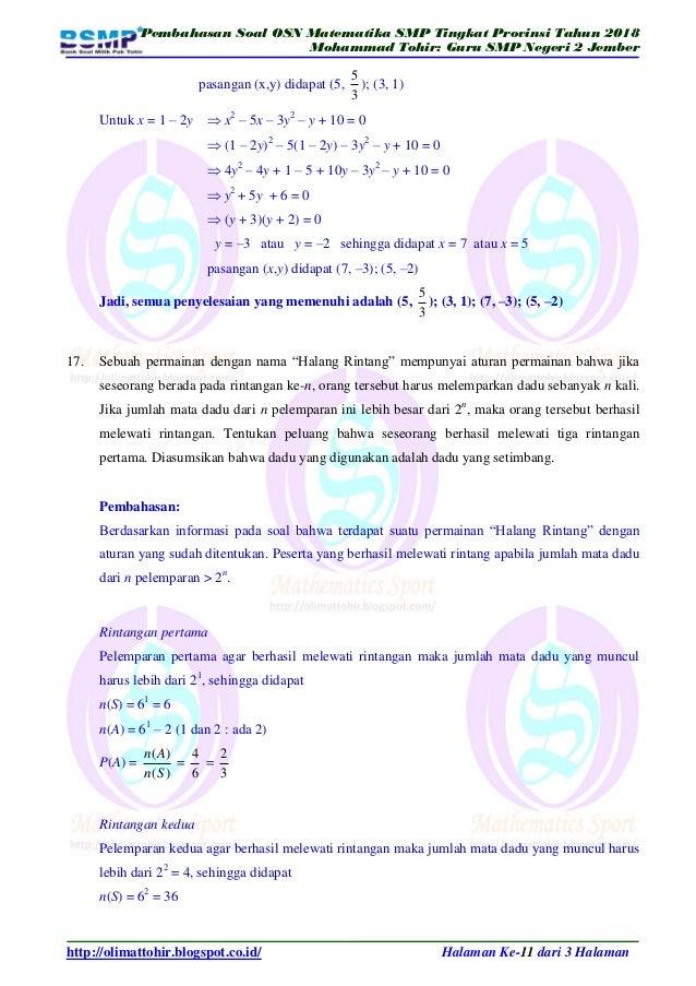 Kumpulan Soal Olimpiade Matematika Smp Dan Kunci Jawaban ...