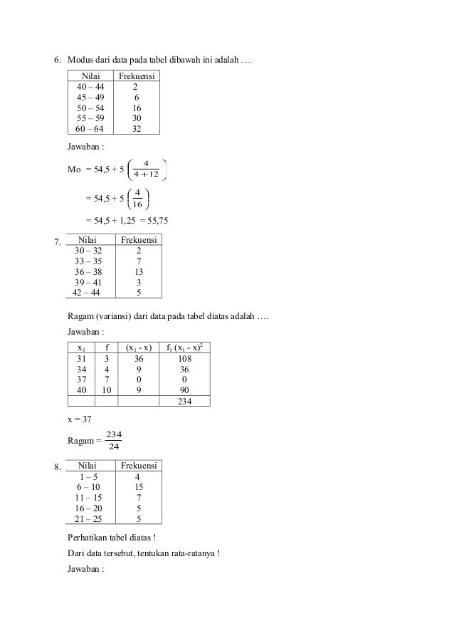 Soal Dan Pembahasan Statistika