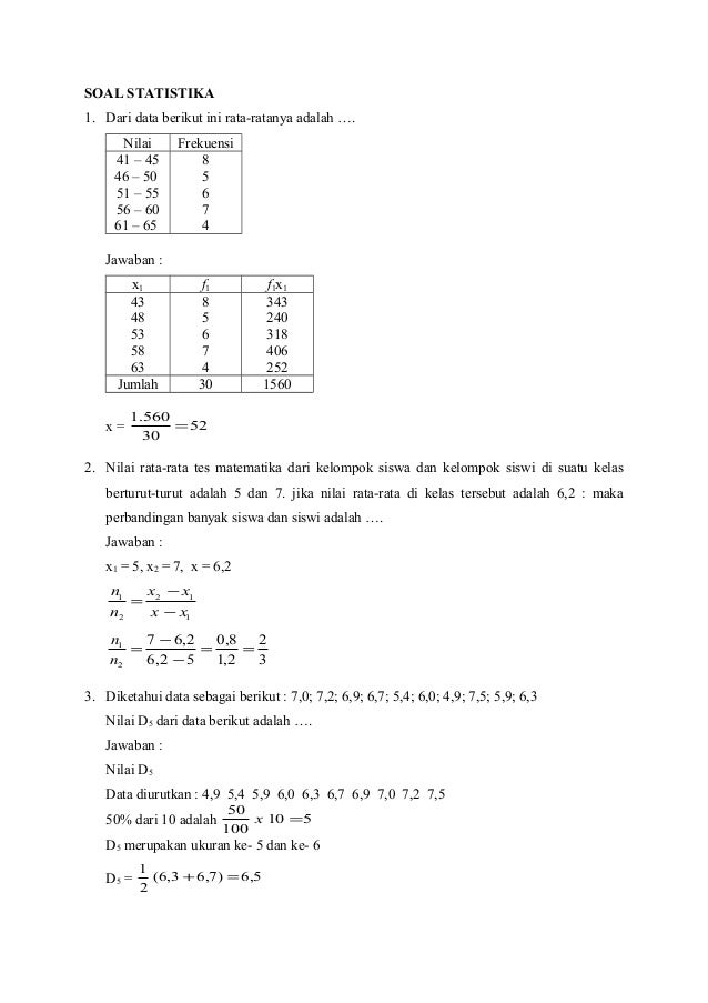 Contoh Soal Statistika Dan Pembahasannya Contoh Soal Dan Materi