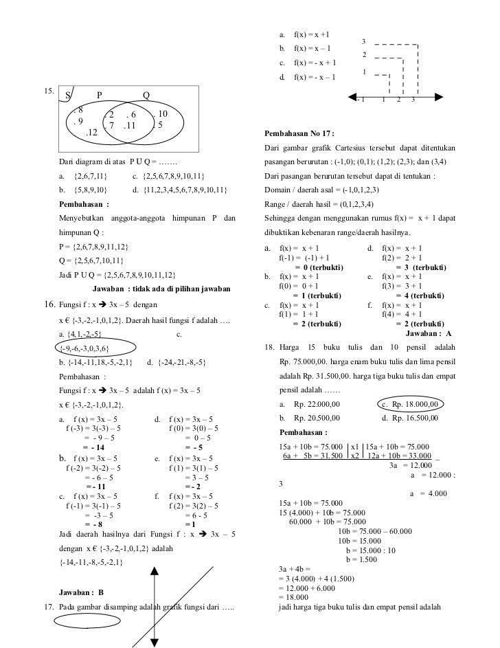 Soal Dan Pembahasan Try Out Matematika Smp