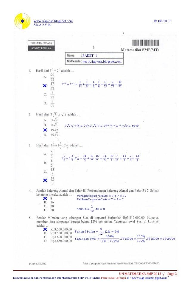 Soal Dan Pembahasan Ujian Nasional Matematika Smp 2013 Paket 1