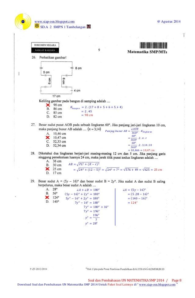 Soal Dan Pembahasan Un Matematika Smp 2014 Pdf