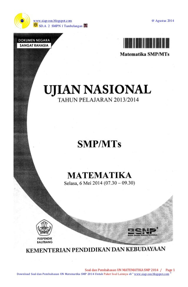 Soal Dan Pembahasan Un Matematika Smp 2014 Paket 1 1