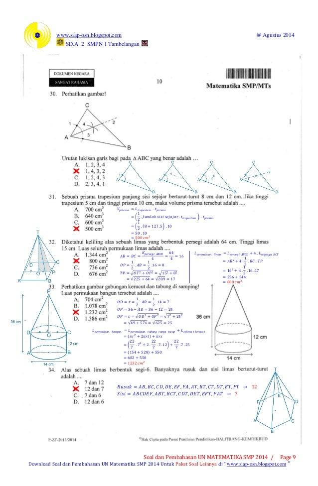 Soal Un Matematika Smp 2014 Pdf