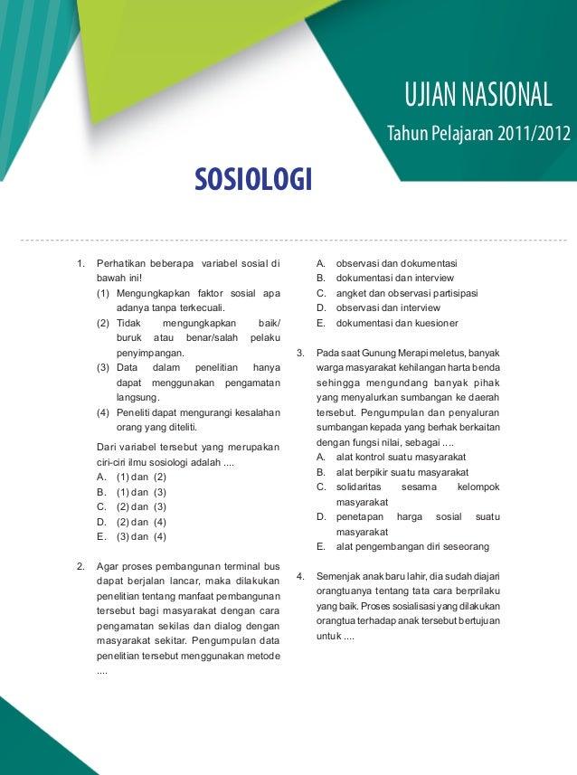 Soal Dan Pembahasan Un Sosiologi Sma Ips 2011 2012