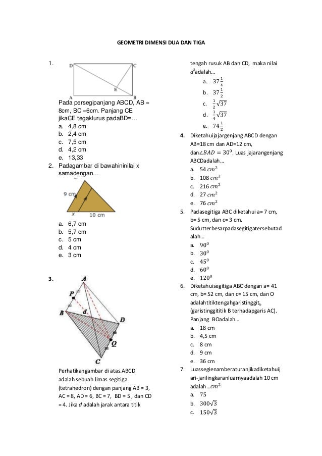 Soal Geometri Dimensi Dua Dan Tiga