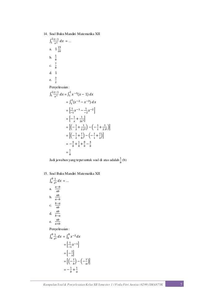 Contoh Soal Dan Jawaban Integral Contoh Soal Dan Materi Pelajaran 7
