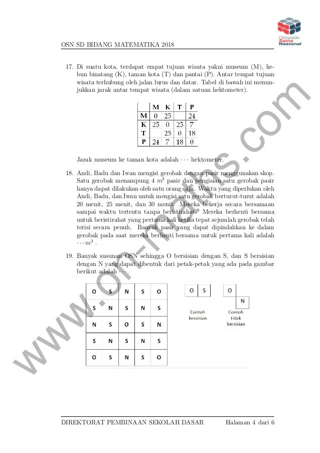 Soal Isian Singkat Osn Matematika Sd Tingkat Nasional 2018