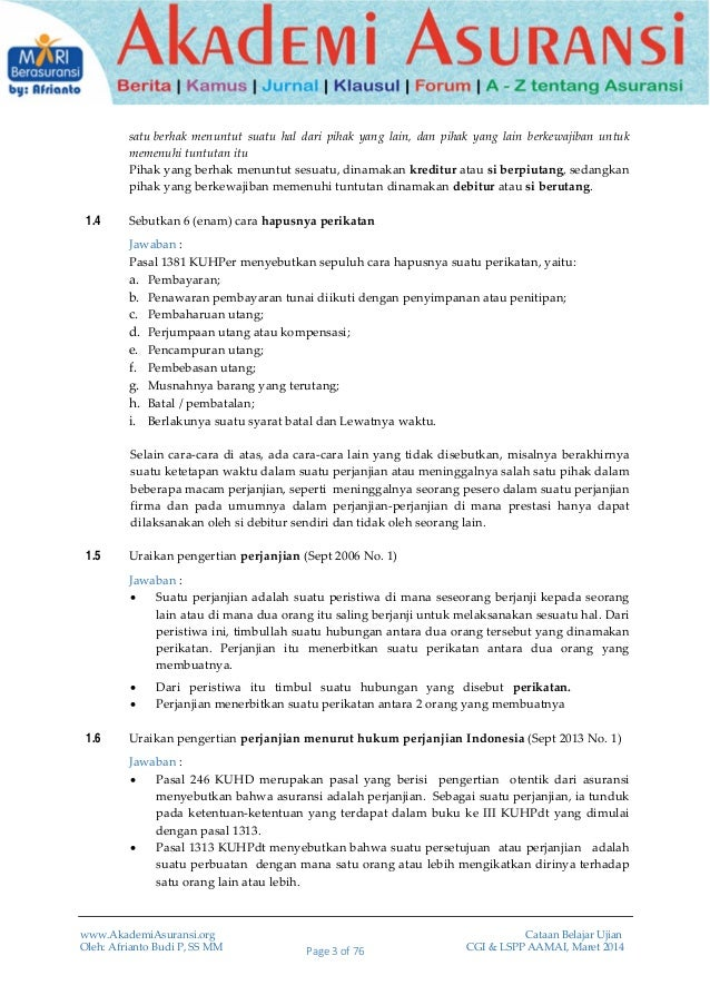 Soal Jawaban Cgi Lspp Aamai 102 Hukum Asuransi Edisi