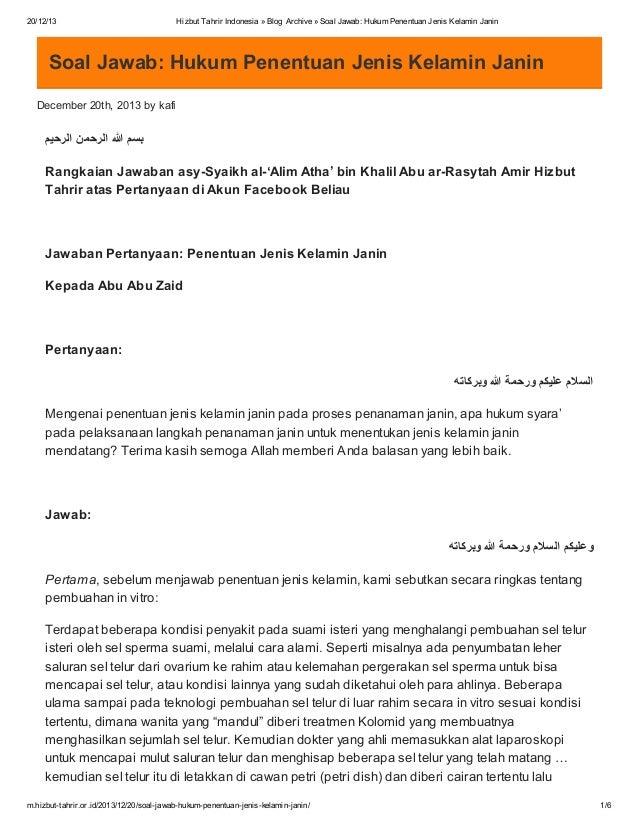 20/12/13  Hizbut Tahrir Indonesia » Blog Archive » Soal Jawab: Hukum Penentuan Jenis Kelamin Janin  Soal Jawab: Hukum Pene...