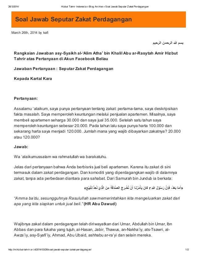Contoh Soal Zakat Profesi Helmi Kediris