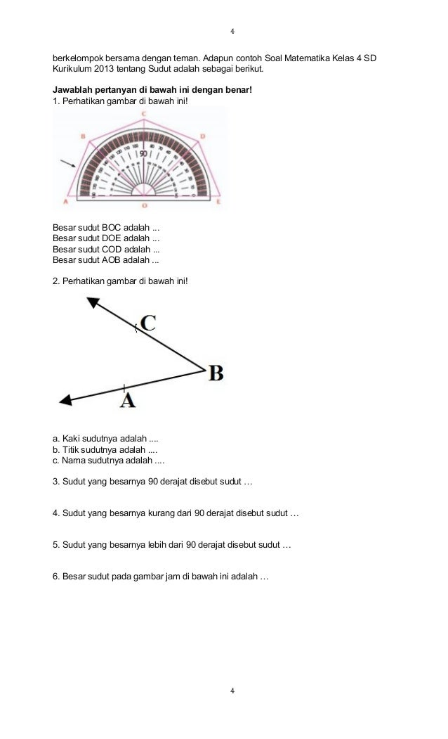 Soal Sudut Matematika Kls 4 Sem 2