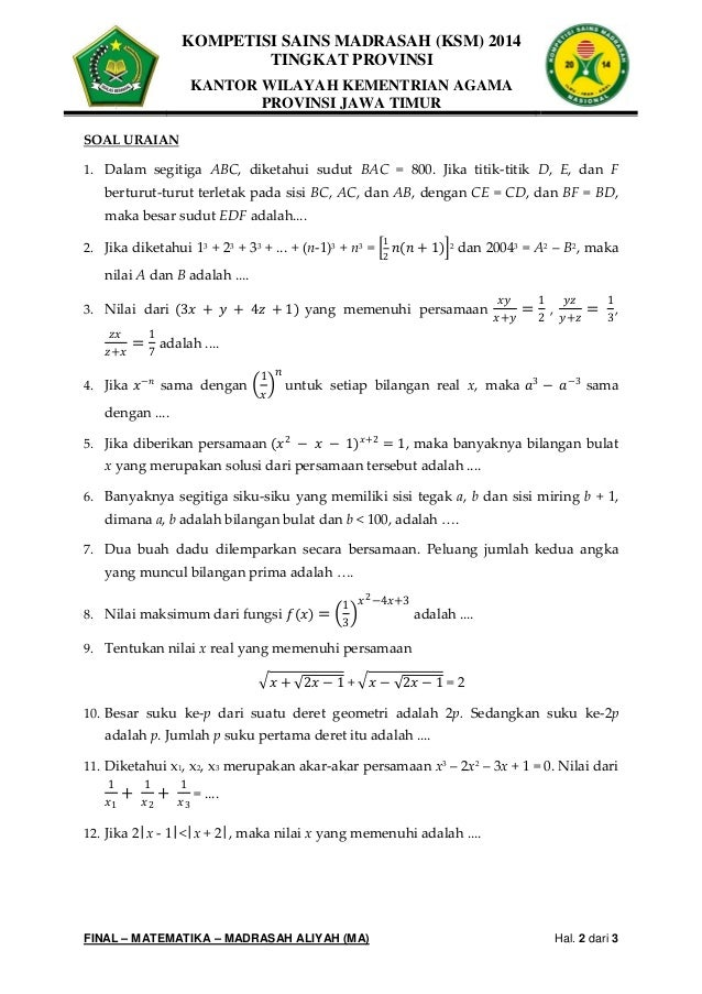 Download Soal Ksm Matematika Mts Kunci Jawaban Ilmusosial Id