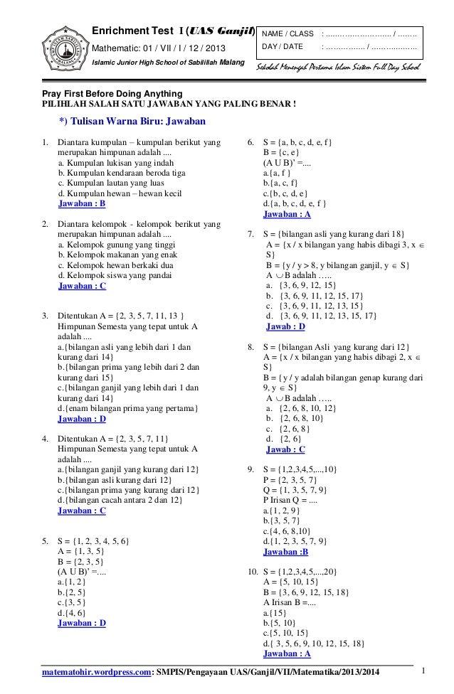 Soalkunci Pengayaan 1 Uas Matematika Smp Kelas Vii Semester Ganjil 20
