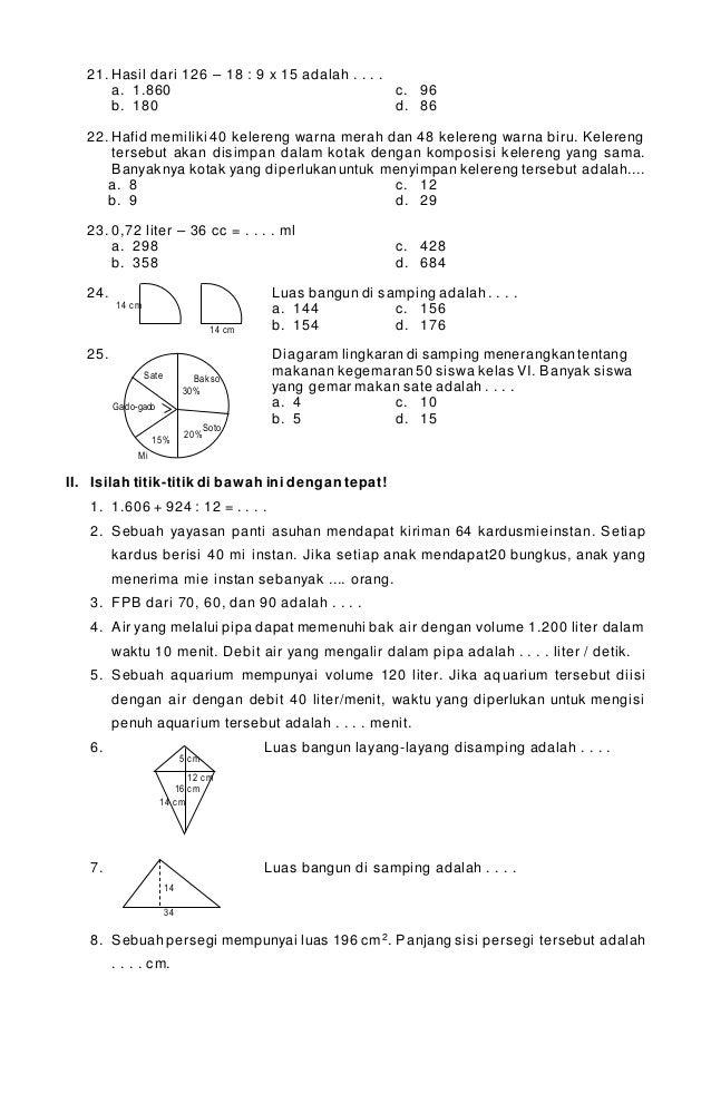 Soal latihan matematika kelas 6