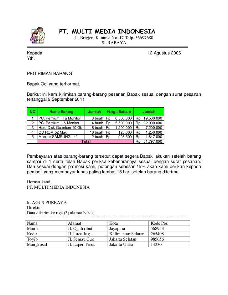PT. MULTI MEDIA INDONESIA                           Jl. Brigjen, Katamsi No. 17 Telp. 56697680                            ...