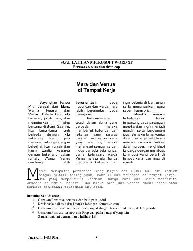 Soal Latihan Microsoft Word Xp