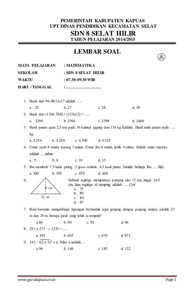 Soal Latihan Ujian Matematika
