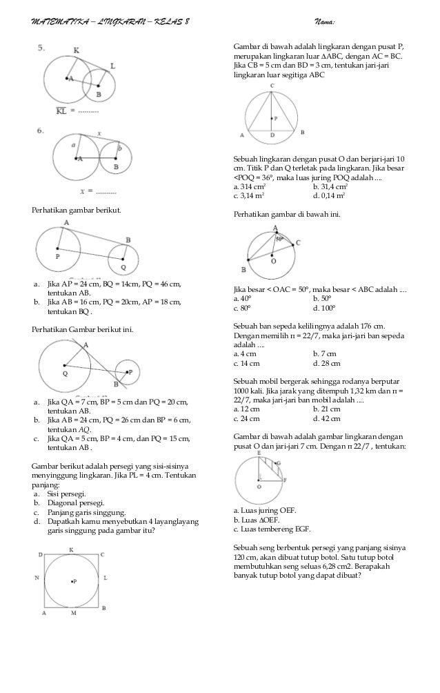 Soal Matematika8lingkaran