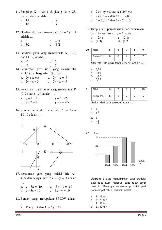 Soal Matematika Kelas 8 Semester 1 2015