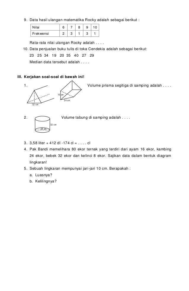 Soal matematika kls 6 uas ganjil 2013 2014 ok 4 ccuart Images
