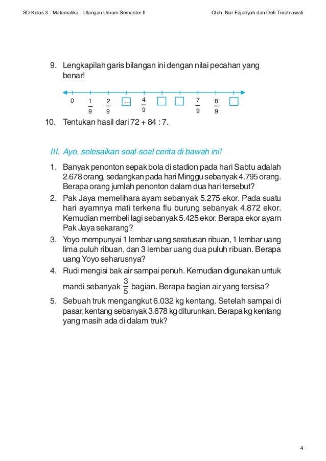 Soal Matematika Sdkelas3