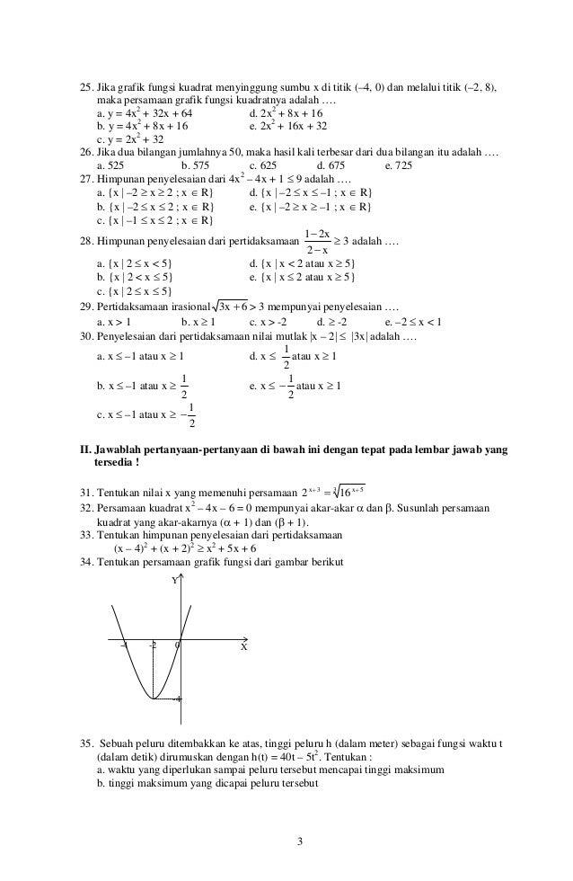 Soal Matematika Wajib Kelas 10 Semester 2 Kunci Dunia