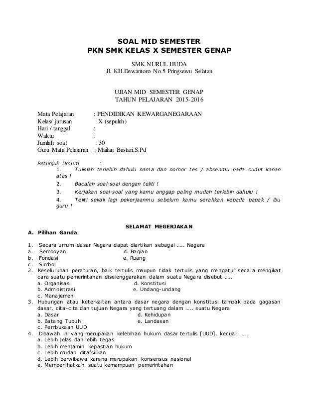 Soal Pkn Kelas Xi Semester 1 Essay - image 3