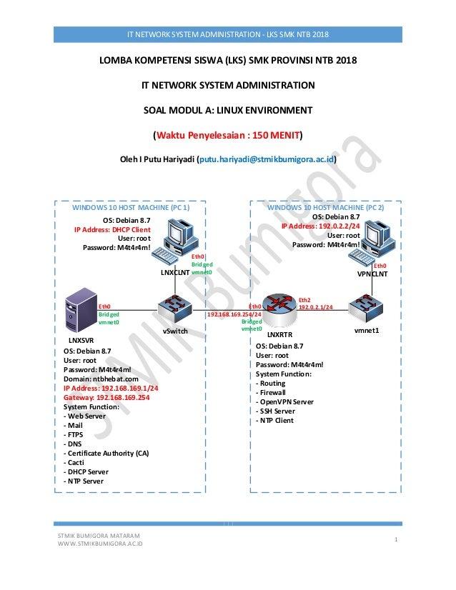 STMIK BUMIGORA MATARAM WWW.STMIKBUMIGORA.AC.ID 1 IT NETWORK SYSTEM ADMINISTRATION - LKS SMK NTB 2018 LOMBA KOMPETENSI SISW...