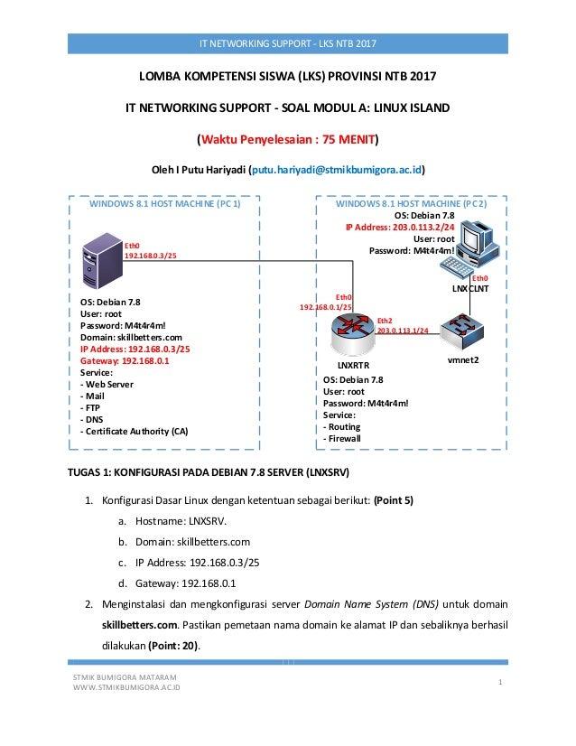 STMIK BUMIGORA MATARAM WWW.STMIKBUMIGORA.AC.ID 1 IT NETWORKING SUPPORT - LKS NTB 2017 LOMBA KOMPETENSI SISWA (LKS) PROVINS...