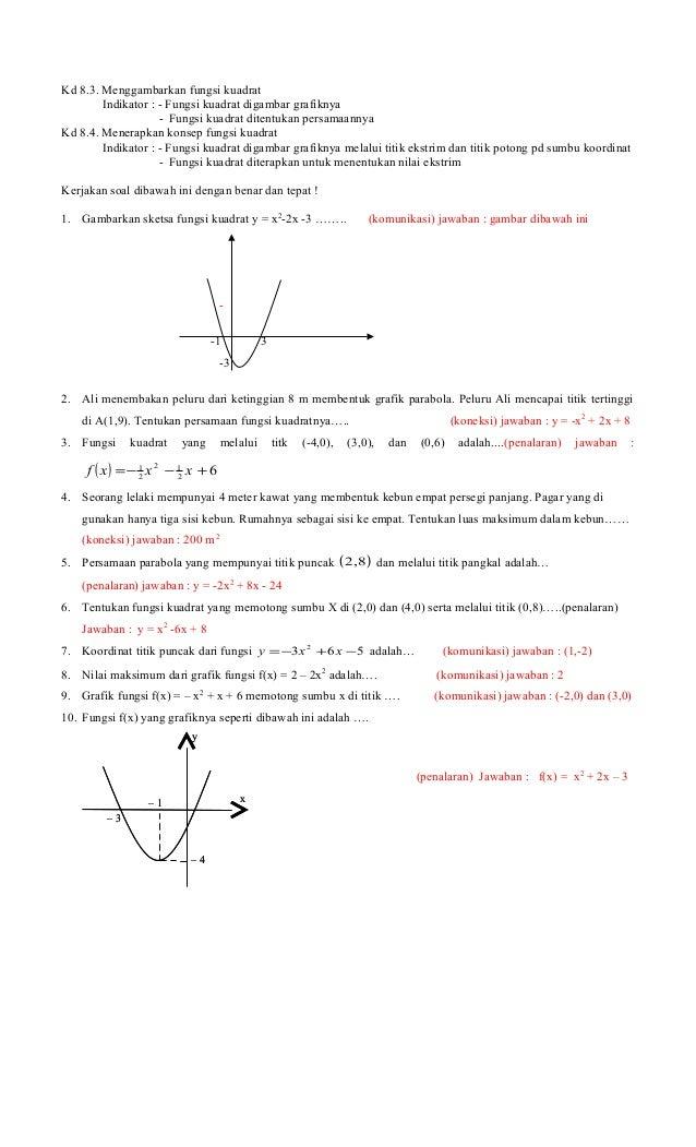 Kd 8.3. Menggambarkan fungsi kuadratIndikator : - Fungsi kuadrat digambar grafiknya- Fungsi kuadrat ditentukan persamaanny...