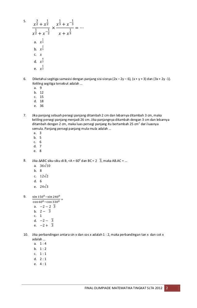 Contoh Soal Olimpiade Matematika Sma Kumpulan Soal Pelajaran 8