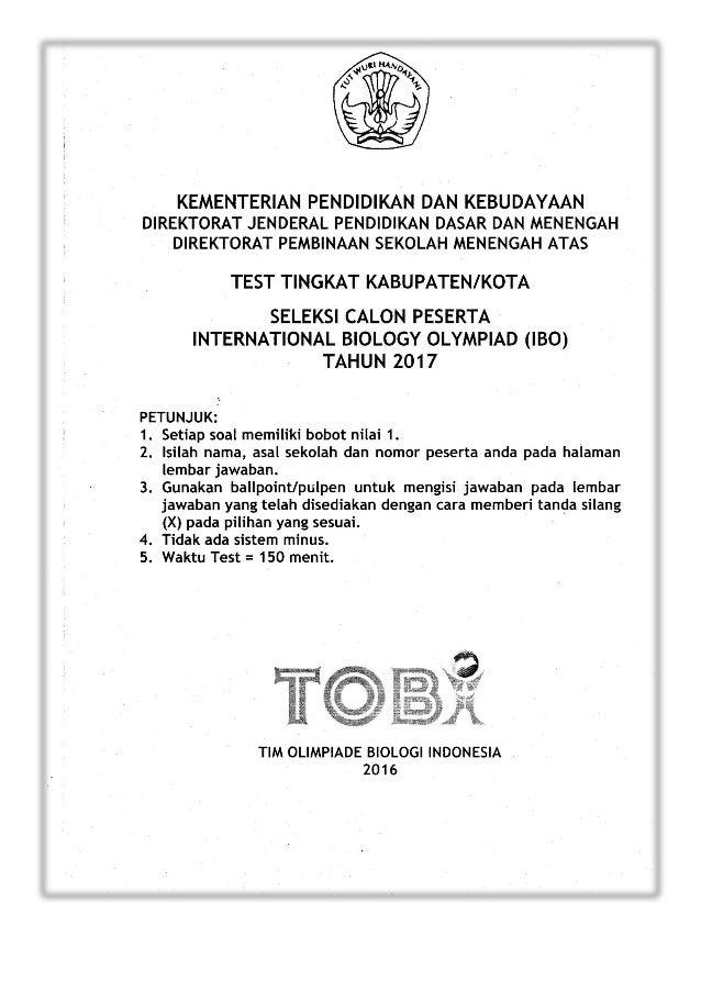 Olimpiade sma soal pdf biologi