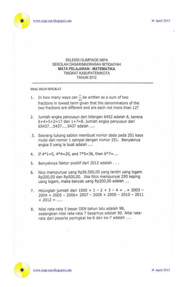 Soal Osn Matematika Sd 2012