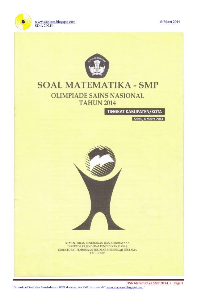 Soal Osn Matematika Smp 2014 Tingkat Kabupaten