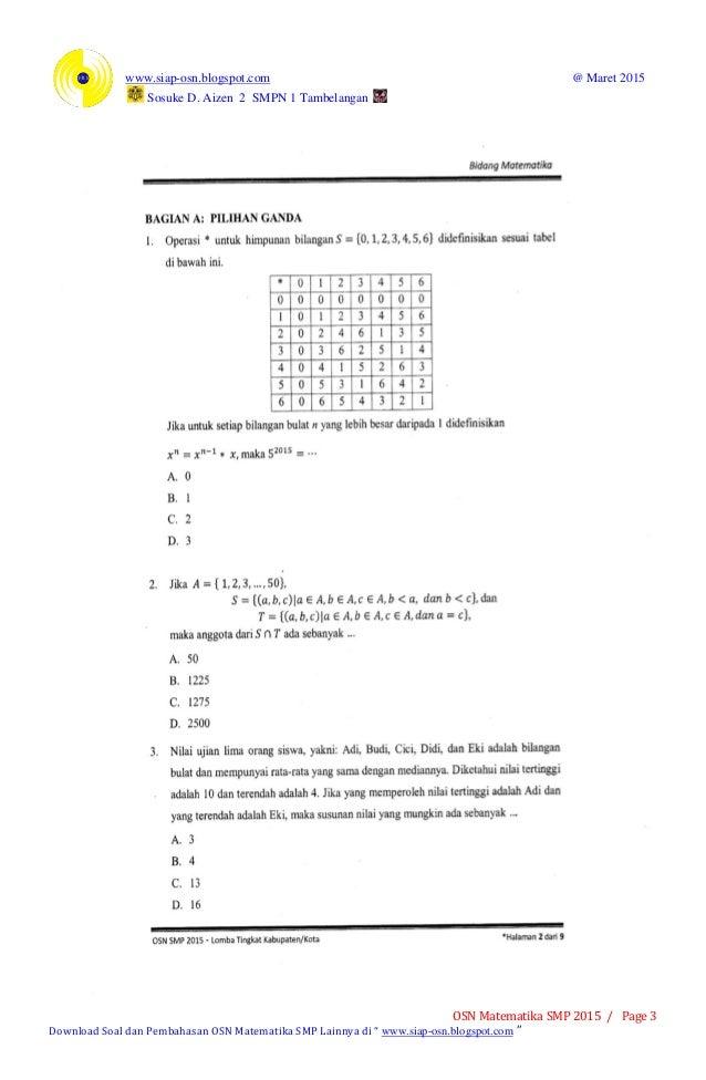 Soal Osn Matematika Smp 2015 Tingkat Kabupaten
