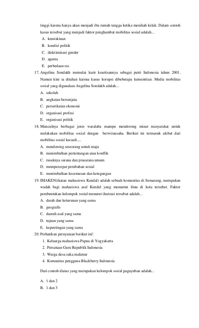Soal Sosiologi Ujian Sekolah Paket C