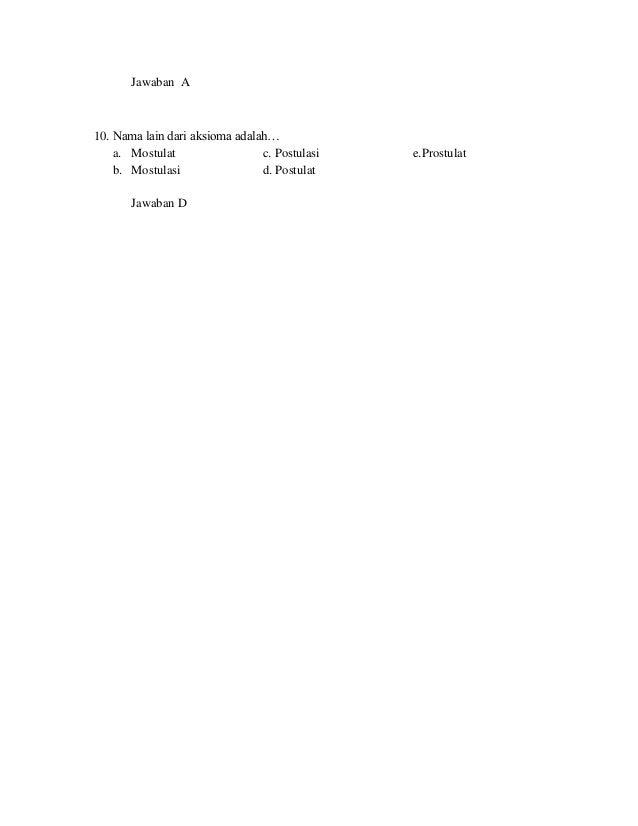 Soal Pilihan Ganda Pendahuluan Pengantar Dasar Matematika