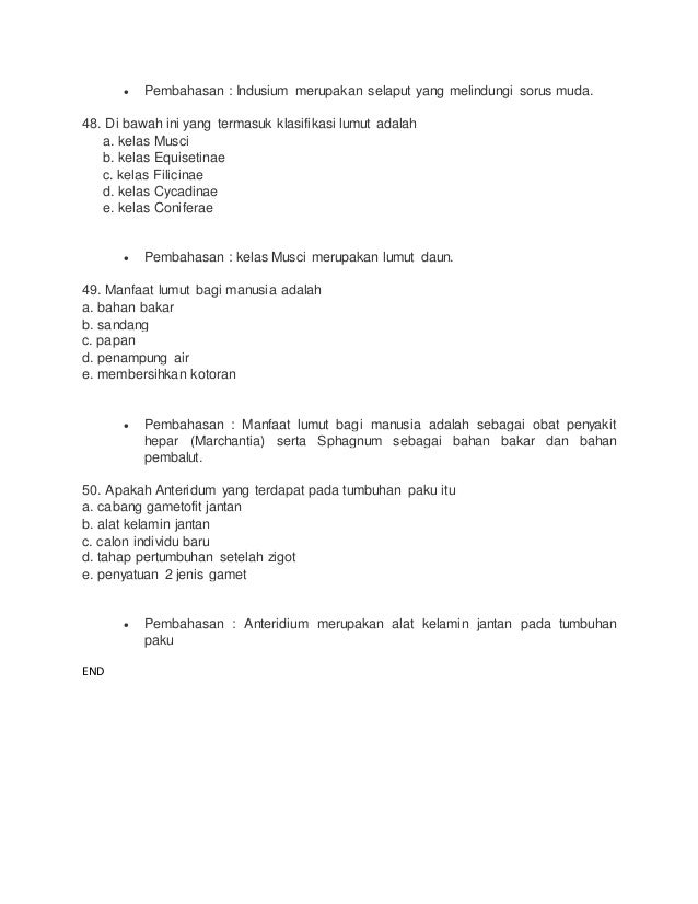 Soal BIOLOGI SMA Kelas X - Plantae ( DUNIA TUMBUHAN)