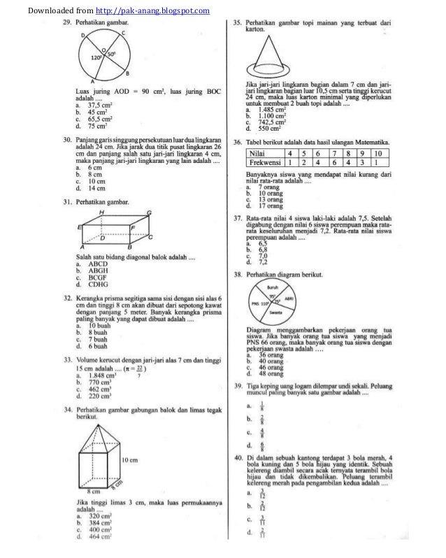 Soal prediksi dan bocoran un matematika smp 2014 kunci jawaban downloaded from httppak anangspot ccuart Images